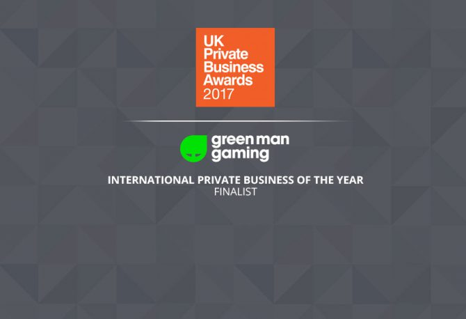 Green Man Gaming finalist in UK Private Business Award 2017