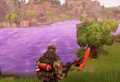 Purple Fortnite Cube Melts Into Loot Lake