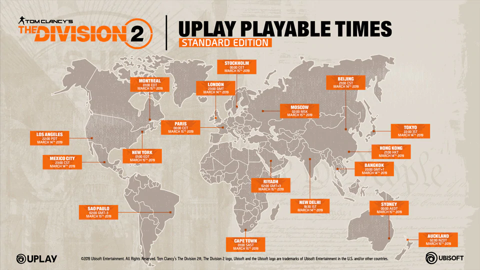 The Division 2 Standard Edition Playable Times