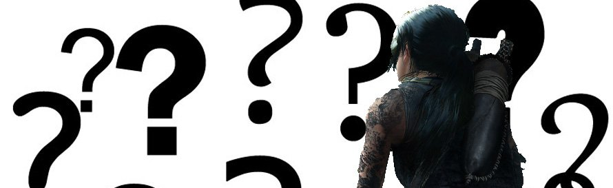 Lara Croft surrounded by question marks